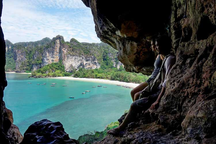 Picture of Sadia and Robin looking out over Tonsai beach in Thailand.