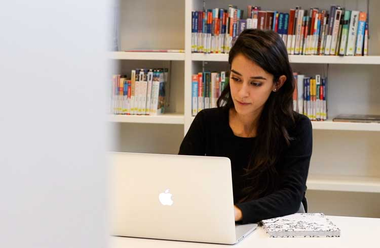 Picture of Sadia at the library.